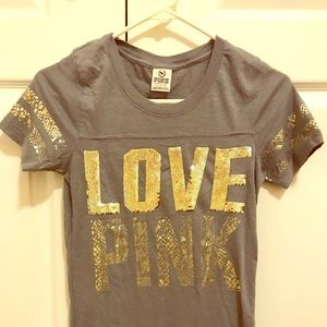 VS PINK LOVE PINK BLING T-SHIRT TOP (PERFECT)